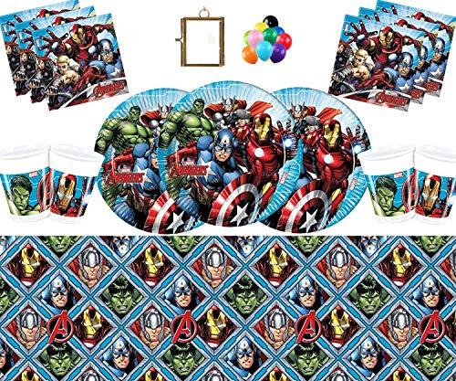 Marvel Avengers Assemble Party Vajilla Platos Tazas Servilletas Mantel Gratis Globos Marco de Fotos de latón-16 Invitados