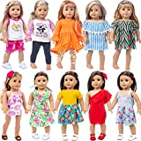 K.T.Fancy 10 Sets American 18 Inch Girl Doll Clothes and Accessories with Dresses, T-Shirts, Pants, Swimsuit, Hair Bands and Hair Clips for 16-18 Inch Girl Doll Clothes