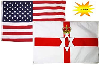 ALBATROS 3 ft x 5 ft 3x5 Set (2 Pack) USA American with Northern Ireland Flag Banner for Home and Parades, Official Party, All Weather Indoors Outdoors