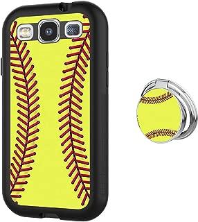 Yunuo Love Softball Samsung Galaxy S3 Silver Ring 360 Degree Rotating Ring Buckle TPU Anti-Friction Waterproof Slim Phone Case for Samsung Galaxy S3