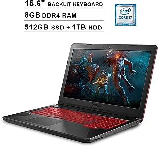 Asus FX504 15.6-Inch FHD 1080P TUF Gaming Laptop, Intel 6-Core i7-8750H up to 4.1 GHz, NVIDIA GTX 1050 Ti, 8GB DDR4 RAM, 512GB SSD (Boot) + 1TB HDD, USB, HDMI, WiFi, Bluetooth, Backlit KB, Windows 10