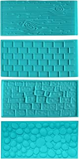 4pc Plastic Embossed Icing Moulds Kits by Kurtzy - Brick, Wood, Cobble and Pebble Stone Designs for Chocolate and Icing - Easy to clean - Perfect for Cake Edging,Cupcakes and Biscuits - Mould Sheets