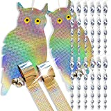 Homescape Creations 16 Piece Owl Decoy Bird Scare Repellent Kit | Spinner Rods for Woodpecker Deterrent | Reflective Flash Tape for Pigeon Repelling | Jumbo Pack Bundle Set