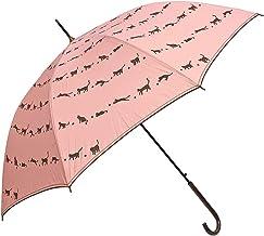 レディース 雨傘 親骨60cm ジャンプ ワンタッチ パイピング&ステッチ うず猫柄 細巻軽量ジャンプ傘