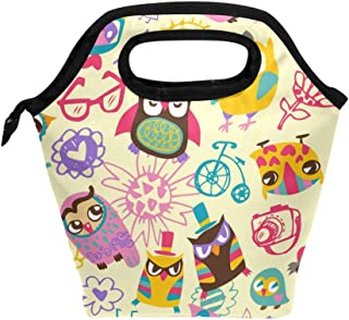 Mydaily Lunch Box Funny Owl Flower Doodle Reusable Insulated School Lunch Bag for Women Kids