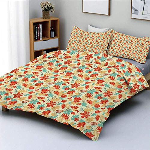 Duvet Cover Set,Autumn Spring Time Vivid Flowers Berries Buds Abstract Image Decorative 3 Piece Bedding Set with 2 Pillow Sham,Turquoise Salmon Red and Orange,Best Gift For Kids