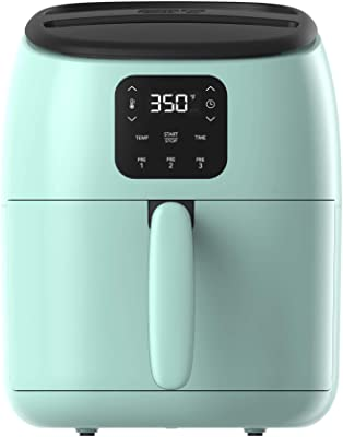 Dash Tasti-Crisp™ Digital Air Fryer with AirCrisp® Technology, Custom Presets, Temperature Control, and Auto Shut Off Feature, 2.6 Quart - Aqua