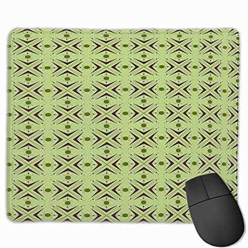 Niedliches Gaming-Mauspad, Schreibtisch-Mauspad, kleine Mauspads für Laptop-Computer, Mausmatte Mid Century Atomic Form mit Bumerang-Details, Punkten und gekreuzten Linien Grüne Pflaume