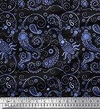 Soimoi Blau Baumwoll-Popeline Stoff Blumen & Paisley