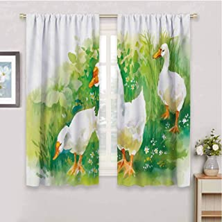 HoBeauty home Rubber Duckcurtains for bedroomGoose in Farm Lake Plants Grass Reeds Flowers Pond Animals Geese Feathersdrapes panelsGreen and White108 x 72 inch