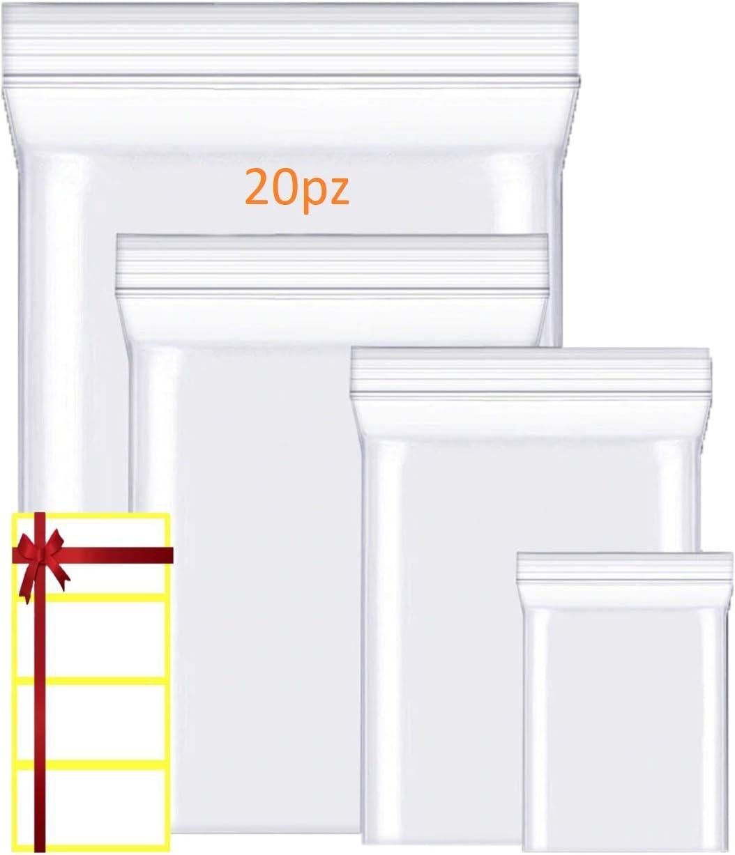 6 x 8 cierre de cremallera reutilizable cierre con cremallera a presi/ón 100 bolsas de pl/ástico transparentes con etiquetas gruesas y duraderas para almacenamiento y conservaci/ón de productos