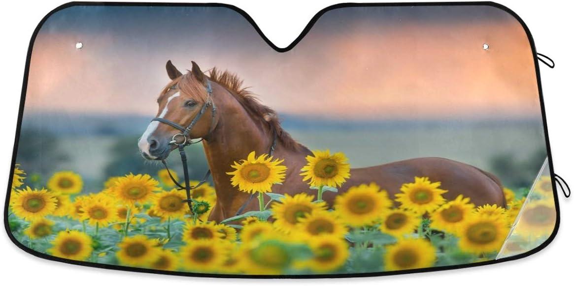 senya Car Windshield Sunshade Horse Sunflowers Discount mail Dedication order Blocks Pattern S