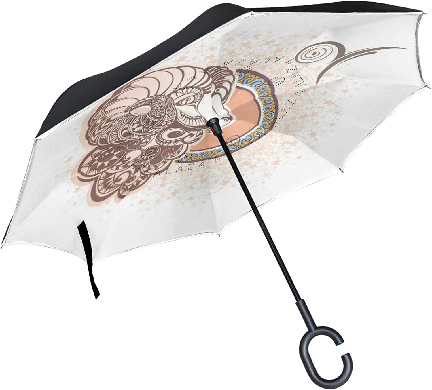 Ingreened Umbrella Double Layer Reverse Umbrella Waterproof Windproof UV Predection Straight Umbrella with CShaped Handle Aries Digital Printing for Car Rain Outdoor Use