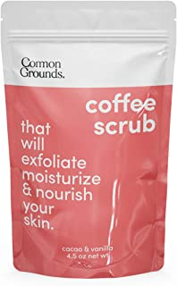 Coffee Body and Face Scrub (Cacao & Vanilla) - 100% Natural Arabica Exfoliating, Acne, Anti Cellulite, Stre...