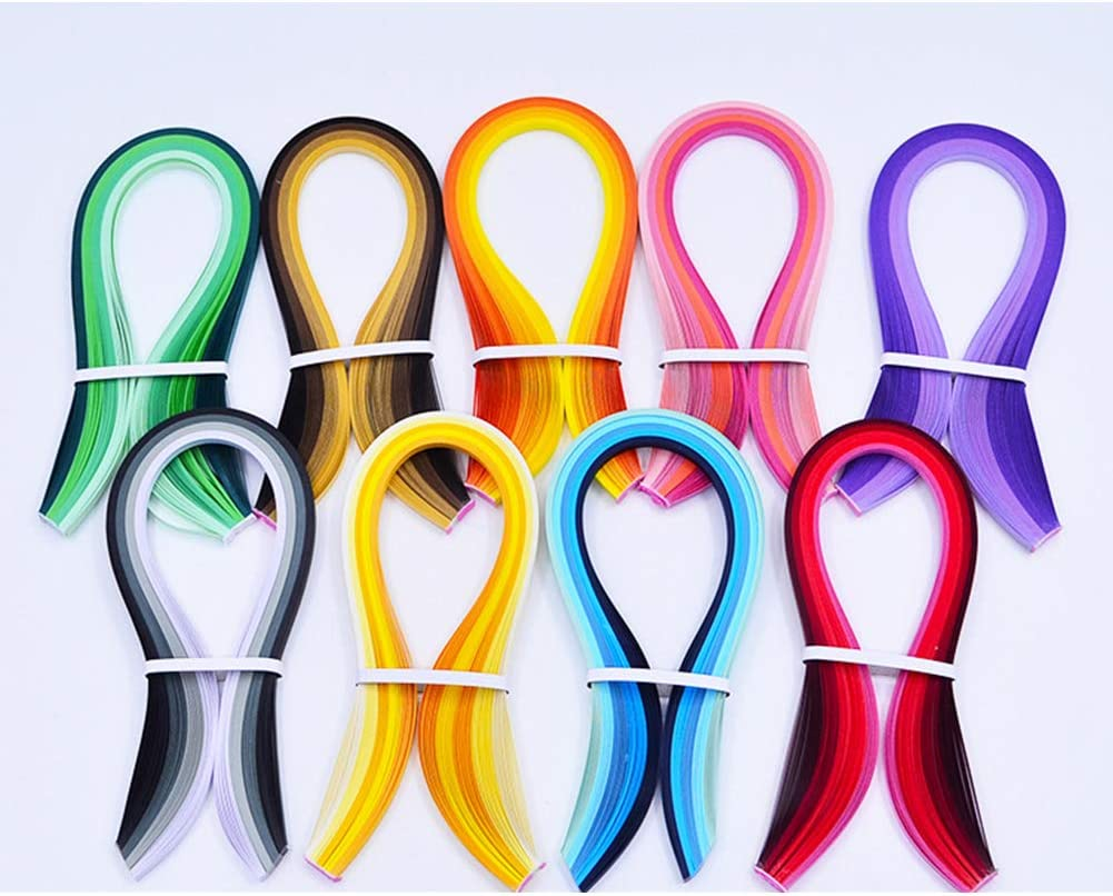 collectvoice Paper Quilling Strips,100Pcs 5mm Gradient Color Paper Quilling Strips for DIY Handmade Craft Blue