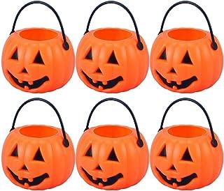 NUOBESTY 8 Pcs Halloween Trick or Treat Candy Holder Mini Portable Pumpkin Bucket for Kids, 8.5 x 5.5 x 4.5cm (Orange)