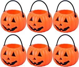 NUOBESTY 8 Pcs Halloween Trick or Treat Candy Holder Small Portable Pumpkin Bucket for Kids, 8.5 x 5.5 x 4.5cm (Orange)