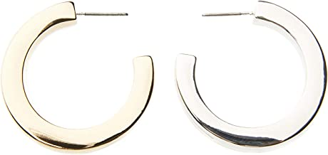 Two-tone gold and silver plated round hoop earrings, half-half plated earrings jewelry for women, girls, Daily basic