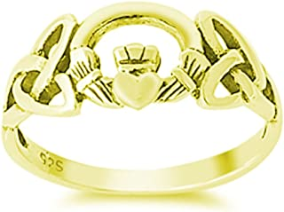 Celtic Knot Oxidized Simple Plain Claddagh Ring Yellow Tone Plated 925 Sterling Silver
