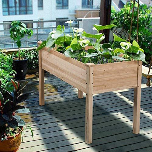 Wakects Hochbeet für den Garten, Hochbeet aus Holz, für Blumen, Kräuter, Obst, Gemüse, 123 x 56 x 76 cm