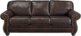 Signature Design by Ashley - Bristan Traditional Style Faux Leather Sofa with Nailhead Trim, Walnut Brown