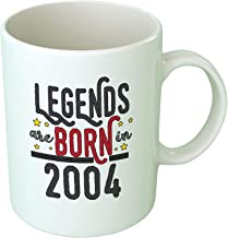كوب قهوة Upteetude Legends are Born In 2004 - أبيض