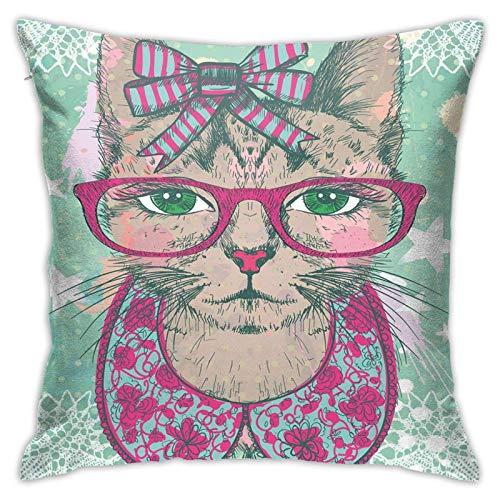 pingshang Fundas de almohada modernas, diseño de gato en gafas hipster y lazo de encaje vintage con diseño humorístico para decoración del hogar, 45,7 x 45,7 cm