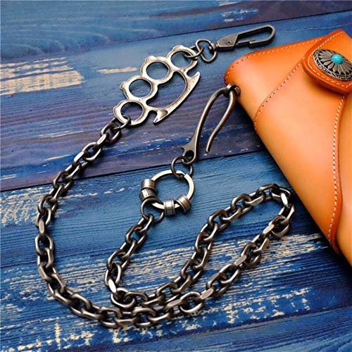 wanzi Moda Fashion Hombres Joyería Cintura Gruesa Motocicleta Motocicleta Cartera Llavero Roca Metal Metal Hip Hop Pantalones Góticos Pantalones Pantalones Monedero Cadena de Cuero