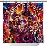 vrupi Klassische Badezimmer Duschvorhang Avengers Spider-Man Iron Man Hulk 71 x 71 Zoll Waschen wasserdichtes Gewebe beinhaltet zwölf Kunststoffhaken verdickt Duschvorhänge