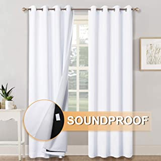 RYB HOME Soundproof Divider 100% Blackout Curtains for Living Room Window, Inside Felf Fabric Linings Insulted Heat/Cold/Noise Shade Drapes for Sliding Glass Door, W 52 x L 95 inches, White, 2 Pcs