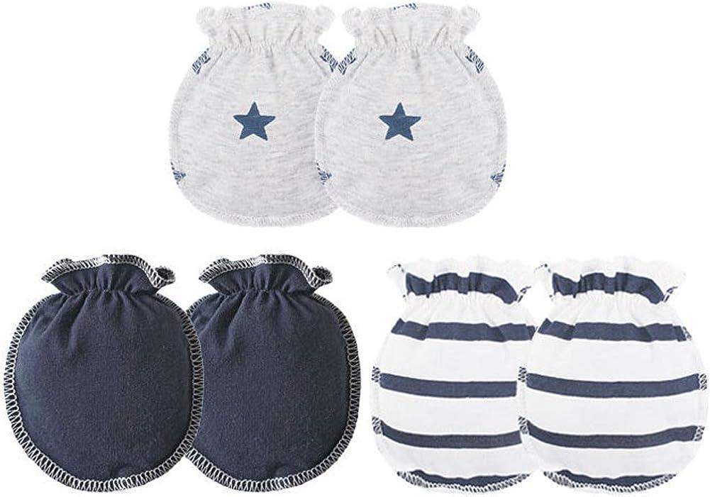 Ehdching 3 pack Baby Gloves Cotton no Scratch Mittens for 0-3 months Newborn Baby