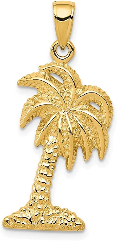 14k Yellow Gold Palm Tree Pendant Charm Necklace Seashore Fine Jewelry For Women Gifts For Her