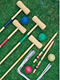 Crystals Traditional Garden Wooden Mallet Balls 4 Player Croquet Game Set for Great Outdoor Fun