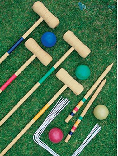 Crystals Traditional Garden Wooden Mallet Balls 4 Player Croquet Game Set...