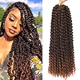Passion Twist Hair 18 Inch Water Wave 6Packs Passion Twist Crochet Synthetic Hair for Black Women Crochet Hair Water Wave Crochet Hair for Ombre Curly Crochet Hair Synthetic Hair (T30)