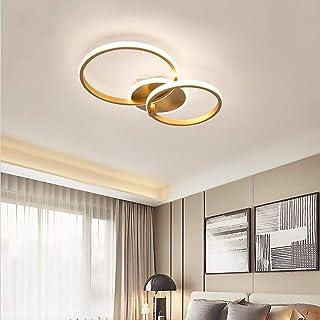 Plafonnier Led Moderne Salon Plafon Light D'or Anneau Circulaire Lustre Chambre Lumières Intensité Variable 3000-6500K ave...