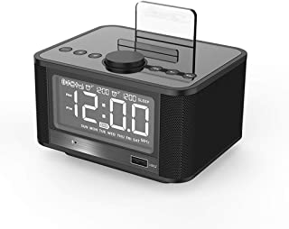 Bluetooth AV Display Overweight subwoofer Alarm Clock Speaker Clock Radio,Black