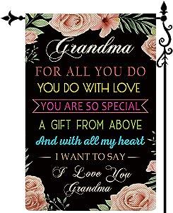 COSKAKA Grandma Garden Flag I Love You Grandma Gift for Grandmother Vertical Double Sided Rustic Farmland Black Burlap Yard Lawn Outdoor Decor 12.5x18 Inch