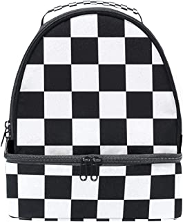 Classic Checker Board Insulated Lunch Tote Bag Portable Large Capacity Backpacks School Travel Picnic Handbag Cooler Warm Lunchbox for Kids Girls Boys Teen Women Men