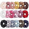 Whaline Satin Hair Scrunchies 18 Colors Elastic Hair Bobbles Ponytail Holder Hair Scrunchy Vintage Hair Bands Ties for Women Girls