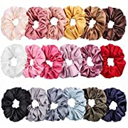Whaline Satin Hair Scrunchies 18 Colors Elastic Hair Bobbles Ponytail Holder Hair Scrunchy Vintage Hair Bands Ties for Women Girls
