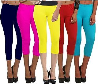 Fablab Women's Cotton Lycra Capri Leggings Capri_CLS_190-5-15NbPYRSb,Free Size,NevybluePinkYellowRedSkyblue