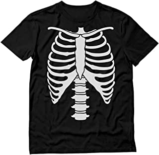 Halloween Skeleton Rib Cage Xray Front and Back Print Easy Costume T-Shirt