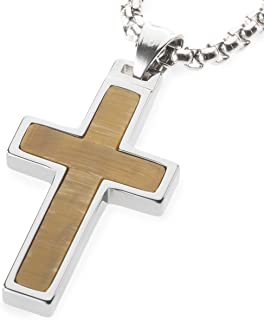Unique GESTALT Tiger Eye Stone Inlay Tungsten Cross Pendant. 4mm Wide Surgical Stainless Steel Box Chain.