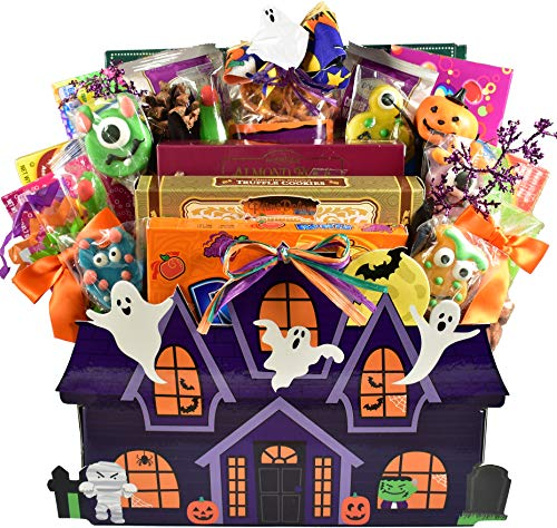 Hauntingly Good, Halloween Gift Basket with Traditional Boxed Candies and Special Gourmet Treats in Spooky Haunted House Box, 7 Pounds