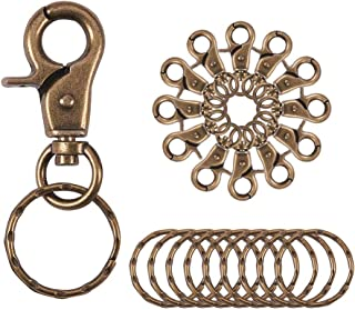 PandaHall Elite 10 Pieces Iron Lobster Claw Clasps Swivel LanyardsTrigger Snap Hooks Strap with Flat Split Key Rings for Keychain, DIY Bags and Jewelry Findings Antique Bronze
