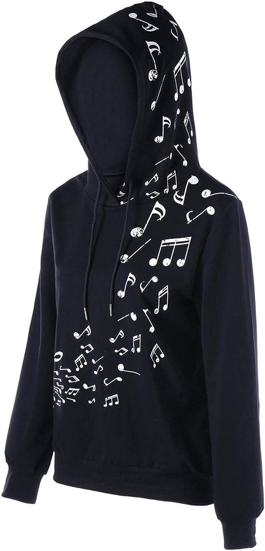 LONEA Womens Lightweight Music Symbols Print Long Sleeve Drawstring Hoodies Hooded Pullover Sweatshirt for Women