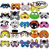 THE TWIDDLERS 50 Máscaras de Espuma para Niños - 25 Diseños Variados - Relleno Holloween Bolsas Sorpresa - Trick or Treat Regalos - Premios de Fiesta Accesorio