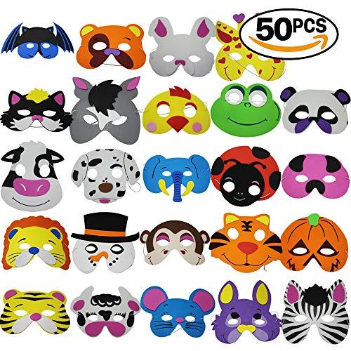 THE TWIDDLERS 50 Máscaras de Espuma para Niños - 25 Diseños | Bolsos de Fiesta