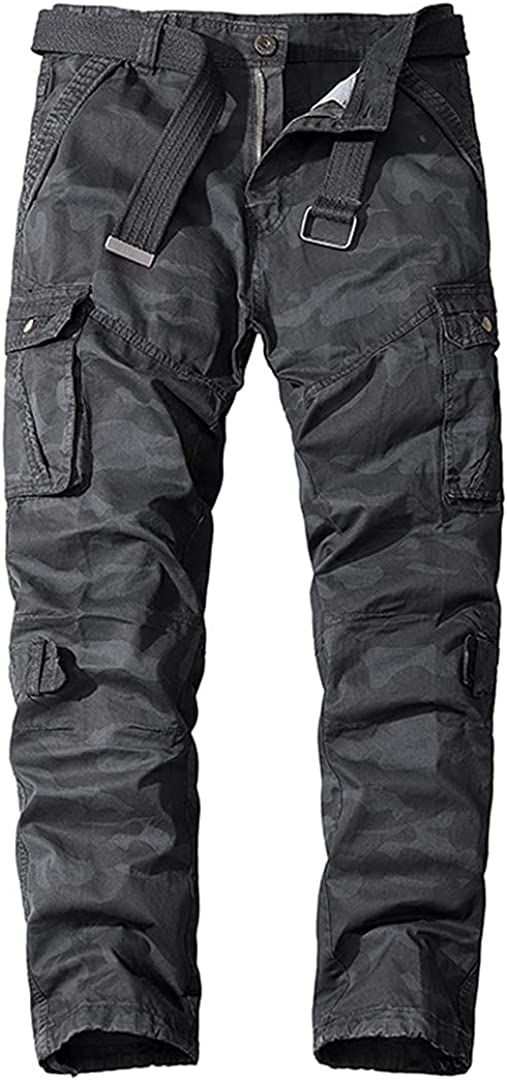 Zichhing Men Washed Cotton Sports Trousers Camouflage Printed Pa